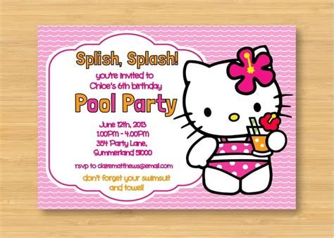 pool party  kitty invitations