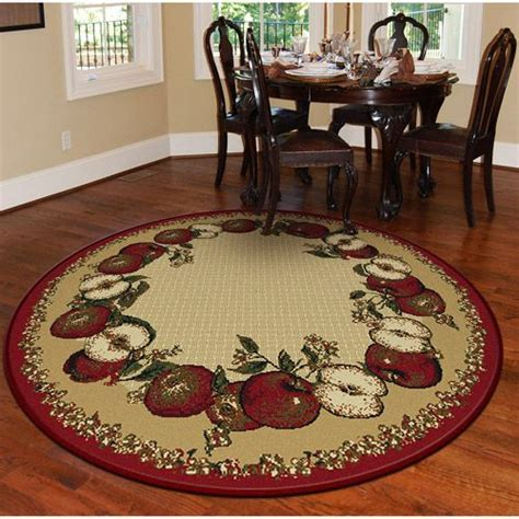 """Orian Apple Border Round 63"""" Rug, Sand   House and Home"""