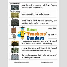 Types Of Rocks Ks2 Lesson Plan, Mind Map And Worksheet By Saveteacherssundays Teaching