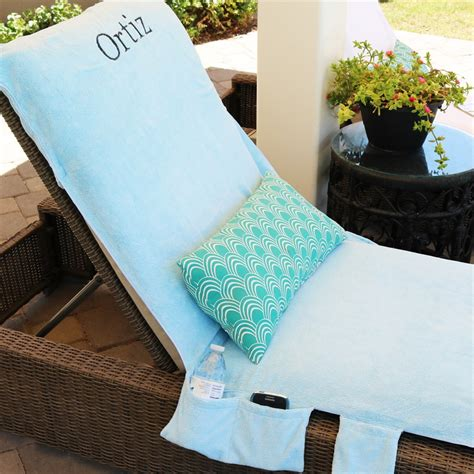 monogrammed lounge chair towel covers with pockets