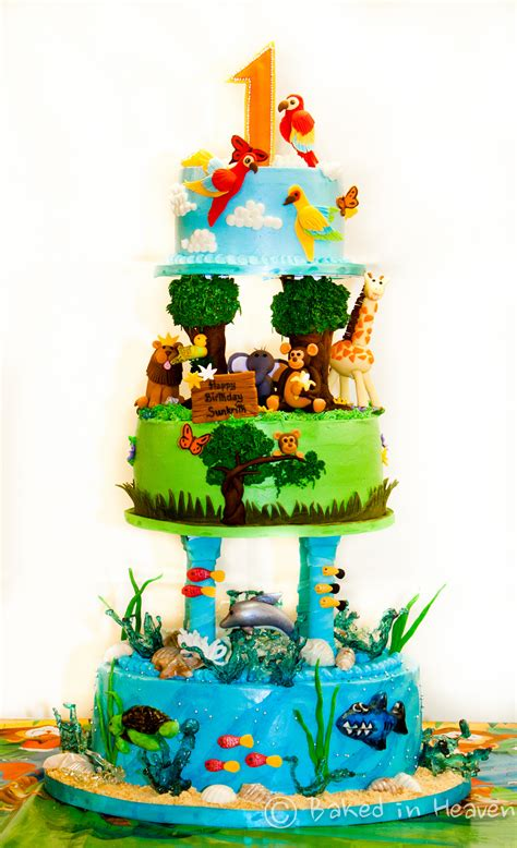 Ocean, Jungle And Sky Themed Cake  Baked In Heaven