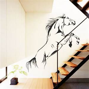 Jumping horse wall decals vinyl stickers home decor for Best brand of paint for kitchen cabinets with art deco wall murals