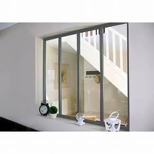 Verriere Interieure Coulissante : verri re atelier en kit aluminium gris vitrage non fourni ~ Premium-room.com Idées de Décoration
