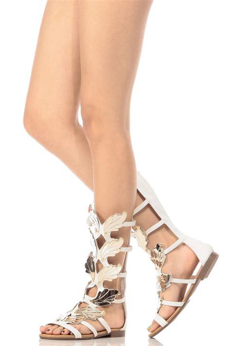 wedges gladiator black white faux nubuck wings gladiator sandals cicihot