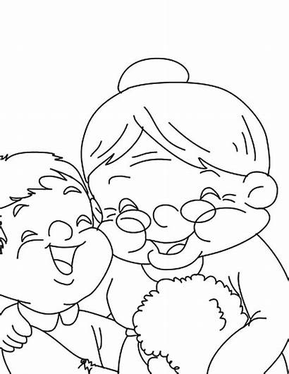 Coloring Grandmother Pages Laugh Colorluna