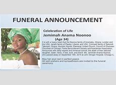 FUNERAL ANNOUNCEMENT FOR THE LATE JEMIMAH NOONOO – Sankofa