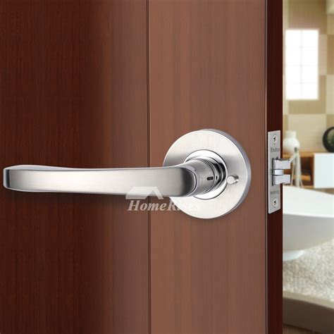 bedroom door lock handle  key brushed stainless