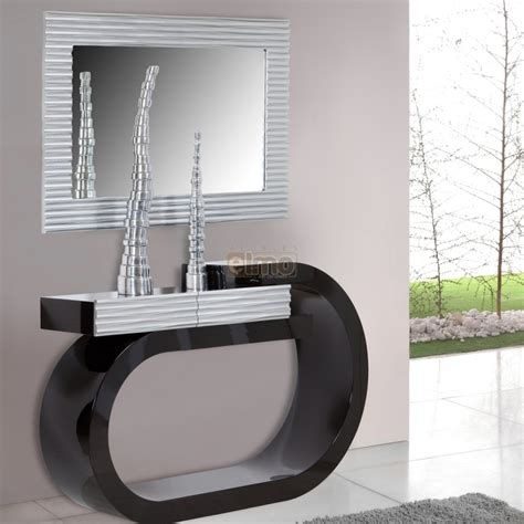 decoration chambre enfants console design moderne laquée bicolore noir et argent 1 tiroir