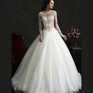 Vintage lace bridal dresses with pearl v neck beading for Long sleeve ball gown wedding dress
