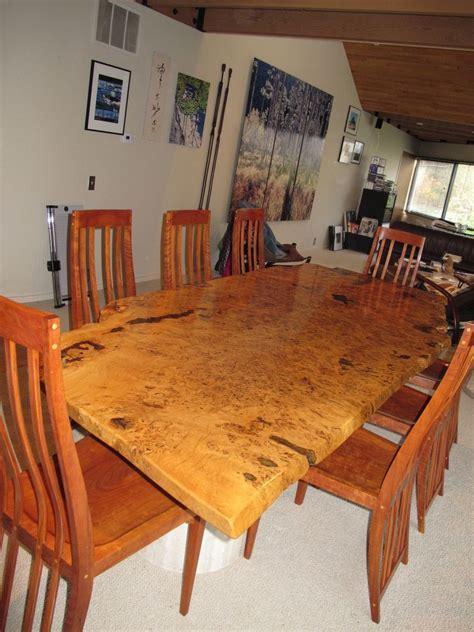 Handmade English White Oak Burl Dining Table by David Naso