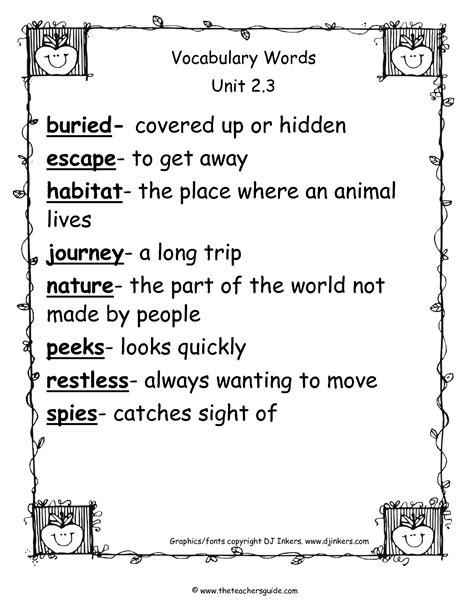 Wonders Second Grade Unit Two Week Three Printouts