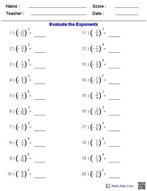 solving fractions with exponents worksheets things to wear pinterest worksheets fractions