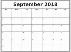 Free September 2018 Calendar in Printable Format Templates