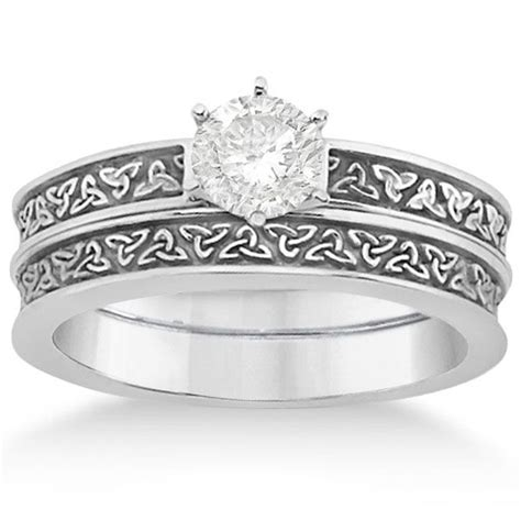 carved celtic engagement ring wedding band set 14k