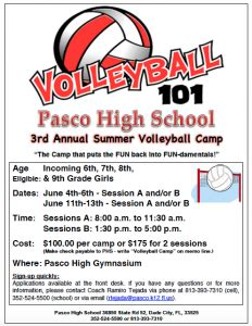 summer volleyball camp pasco high school