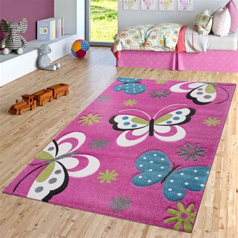 Schmetterling Teppich Fuchsia Pink Grau Creme Kinderzimmer
