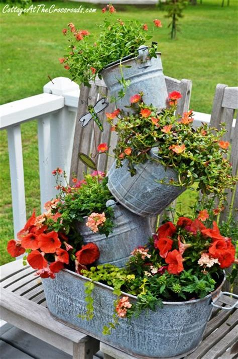 topsy turvy planter topsy turvy galvanized buckets cottage at the crossroads