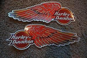 New Harley Davidson Orange Wing Logo Motorcycle Tank Decal Set