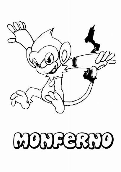 Monferno Coloring Pokemon Pages Fire Hellokids Manga