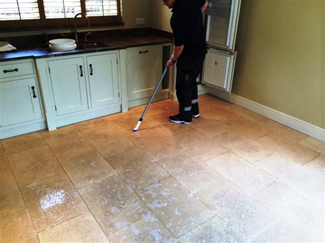 Soiled Limestone Kitchen Floor Deep Cleaned And Sealed In