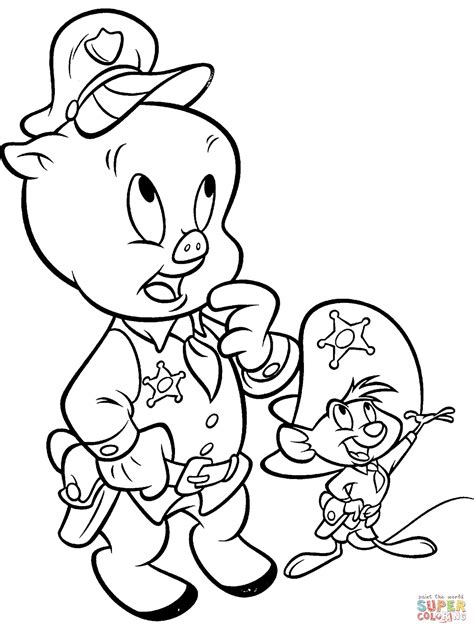 Porky Pig and Speedy Gonzalez coloring page Free