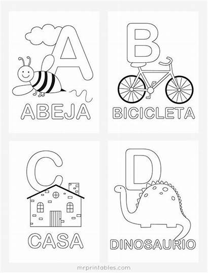 Spanish Coloring Pages Worksheets Alphabet Activities Abc