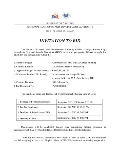 invitation  bid template charlotte clergy coalition
