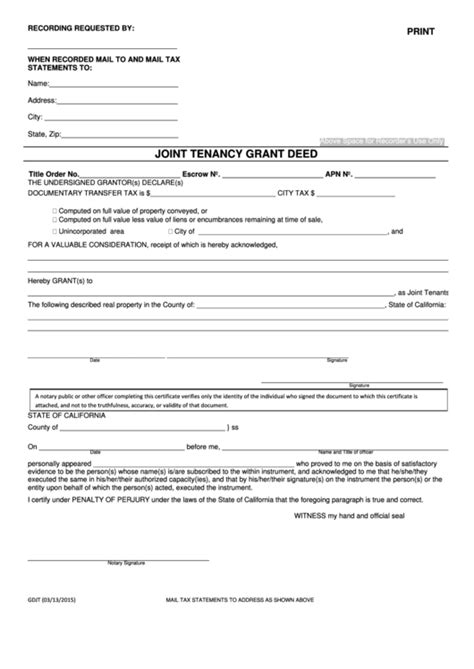 fillable joint tenancy grant deed state  california