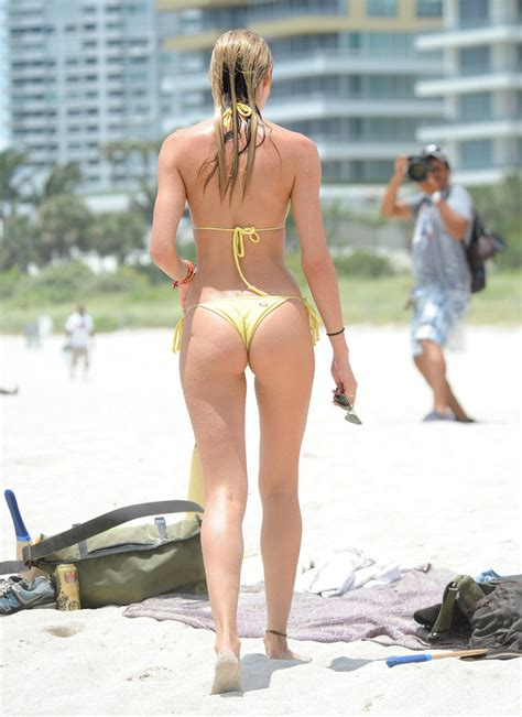 Candice Swanepoel - Yellow String Bikini at Miami Beach ...