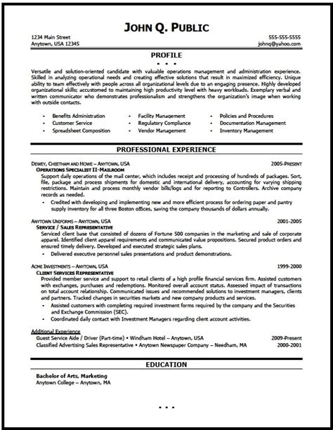 It Operations Manager Resume Exles by Operations Manager Resume Sle The Resume Clinic