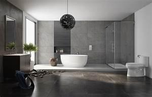 36 idees salles de bains avec baignoire de luxe With salle de bain contemporaine grise