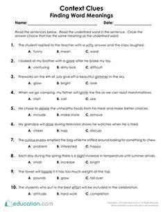 context clues worksheets for 2nd grade reading