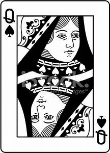 Queen of Spades Black and White Stock Vector - FreeImages.com