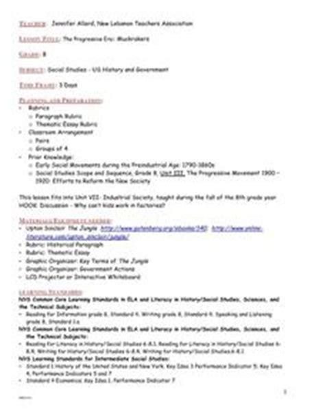 the progressive era muckrakers grade 8 lesson plan for