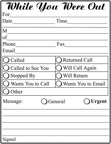 message template for word clipart while you were out