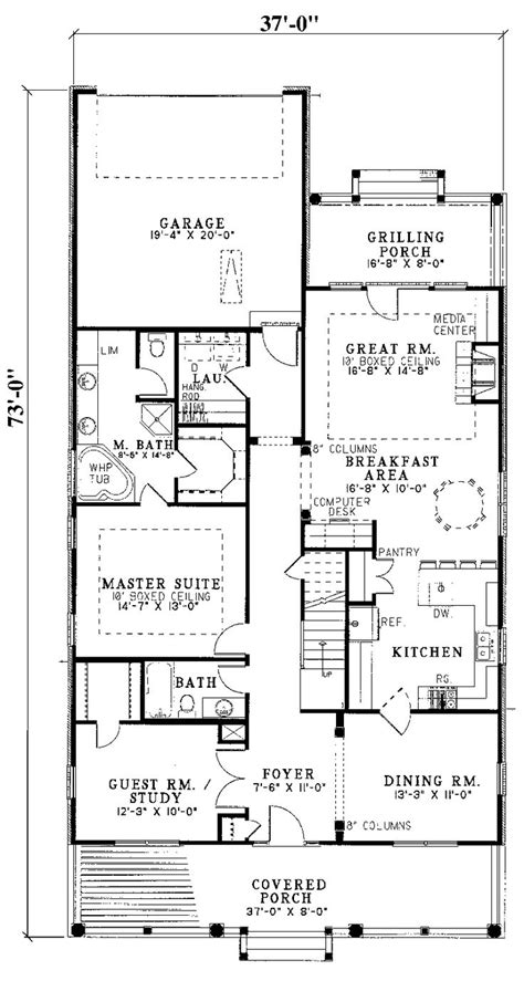 narrow lot house plans ideas  pinterest
