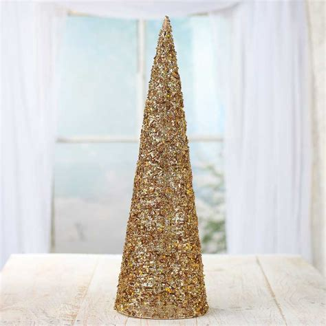 gold sparkling mesh beaded cone tree christmas trees and