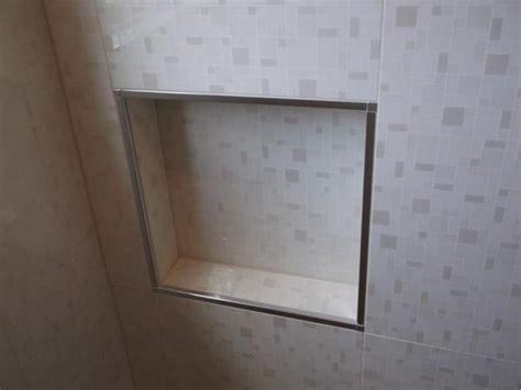 schluter tile trim white schluter edge on shower niche bathroom
