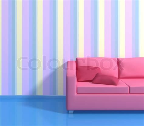 modern interior composition   striped wallpapers