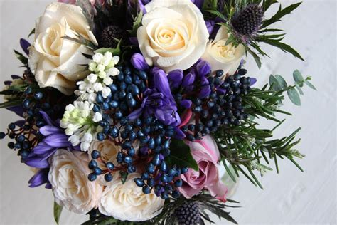 The Flower Magician Winter Wedding Bouquet To Tone With Blue