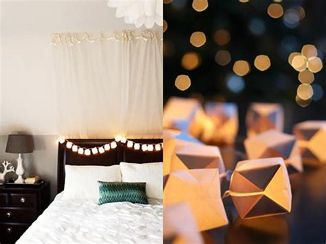 bedroom string lights with origami paper lanterns
