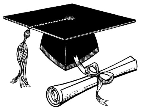 Graduation Cap And Diploma Clipart Black White 3