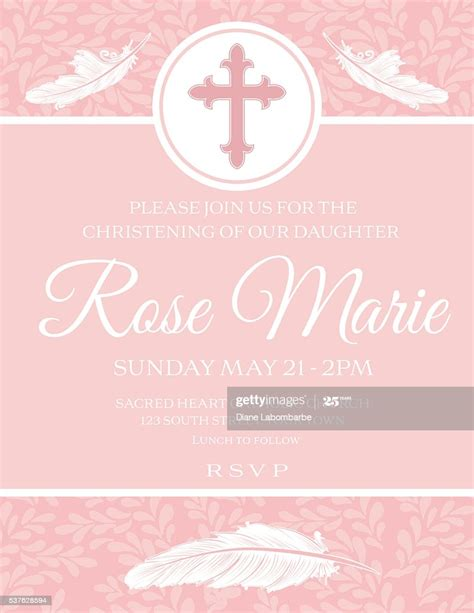 Baby Girl Baptism Or Christening Invitation Template High