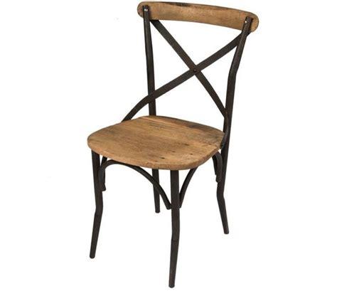 chaise fer et bois lot 2 chaises au design industriel en bois vieilli et fer noir dallas