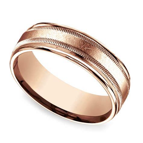 swirl milgrain men s wedding ring in rose gold