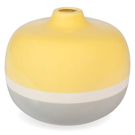 Yellow And Grey Vase by Yellow Stoneware Vase Yellow Grey H 18 Cm Maisons