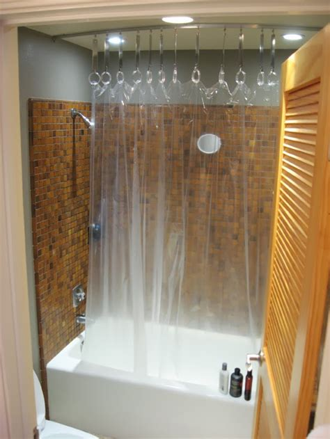 hack a ceiling track for shower curtain ikea hackers