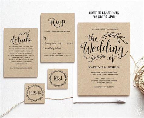 Vintage Wedding Invitation, Rustic Wedding Invitation Set
