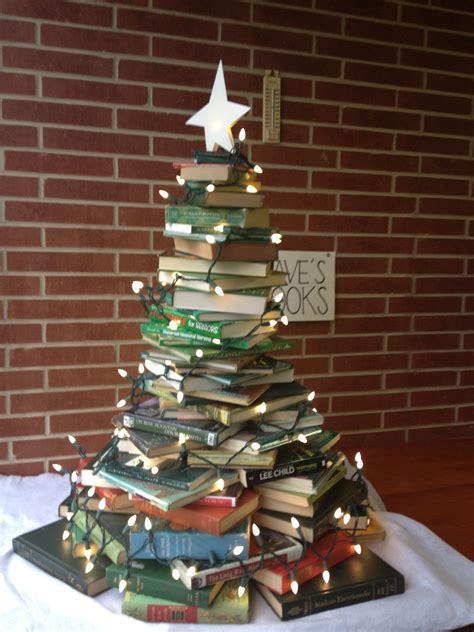 christmas tree made of books book fair foundation
