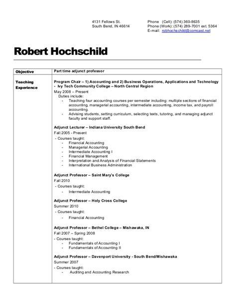 Sle Adjunct Professor Resume by Rob S Resume Adjunct Professor